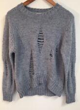 ZENANA OUTFITTERS Womens Gray GRUNGE Ripped Sweater Size M/L
