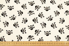PIRATE POLY COTTON FABRIC - JOLLY ROGER - SKULL & BONES - 112 cm width