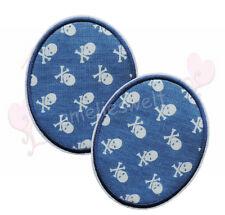 Buttons Piratenstoff 2 Stück Knieflicken Aufbügler Aufnäher Bügelbild patch blau