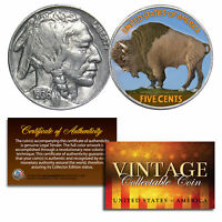 1930's 5 Cent Genuine Indian Head Buffalo Nickel Coin Full Date COA - COLORIZED