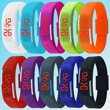 Men Women Silicone Red LED Sports Bracelet Touch Screen Digital Wrist Watch New