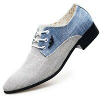 Mens Casual Pointy Toe PU Leather Shoes Low Top Cuban Heels Slip On Pump Shoes