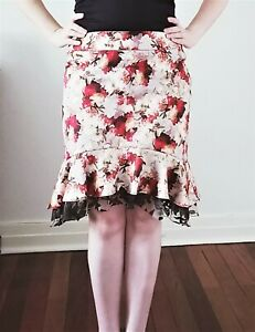 Black Gold Red Floral Cotton Lace Peplum Skirt Size 16 New! ~EugeniaM Designs~