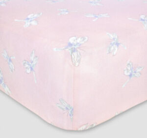 Burt's Bees Baby Organic Cotton Fitted Jersey Crib Sheet Dragonfly Pink Nursery
