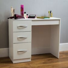 Hulio High Gloss 3 Drawer Dressing Table White Makeup Computer Desk Furniture
