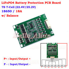 7S 18A 25.2V 18650 LiFePO4 3.2V Battery BMS Packs Protection PCB Board w/Balance