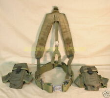 US Army Military Large Web Pistol Belt w Suspenders (2) Ammo Pouchs Set VGC