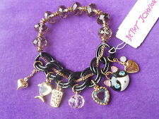 Betsey Johnson Authentic NWT Two-Tone Cat & Fish Multi-Charm Stretch Bracelet