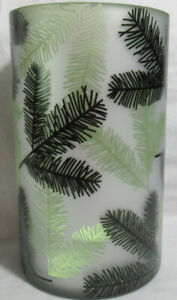 Yankee Candle Frosted Large Jar Holder Holiday dark lt. green white BALSAM TREES