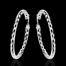 Free Shipping 925Sterling Silver Snake Skin Large Circle Hoop Earrings EB594