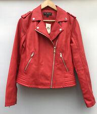Biba PU Biker Jacket Red Full Zip Belt Womens Ladies 4 Pockets UK Size 14
