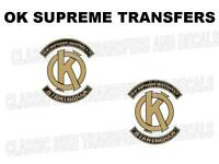 OK Supreme Tank Transfers Decals Motorcycle Sold as a Pair Black/Gold
