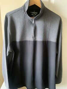 Hagger All in Motion Mens Seamless 1/4 Zip Pullover Black Gray XL