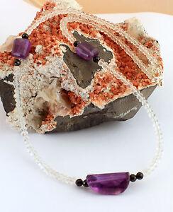Roca Amatista Espinela Cadena de Piedra Preciosa Púrpura Blanco Collar Negro