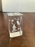 "Crystal Glass 3D Laser Etched VIRGIN MARY PRAYING Cube Paperweight 3""x2""x2"""