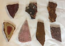 """Mixed Lot Of 7 Lapidary Slab Pieces 7.7oz (219g) Measures 2"""" - 3.5"""" Inch"""