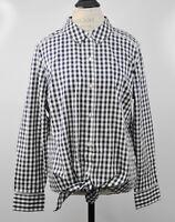 Isaac Mizrahi Size 16 Button Gingham Shirt Ladder Lace Dark Navy Blue Blouse Top