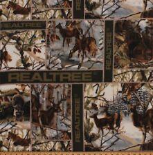 Realtree White Winter Blocks Camouflage Deer Hunting Fleece Fabric Print A505.23