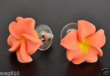 Fimo clay plumeia flower stud earrings - Coral