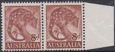 Stamp 8d Tiger Cat pair left stamp variety retouched top left corner, unlisted