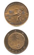 """NASA APOLLO 11 """"PLACING OF THE AMERICAN FLAG"""" JULY 20 1969 ANTIQUE BRONZE COIN"""