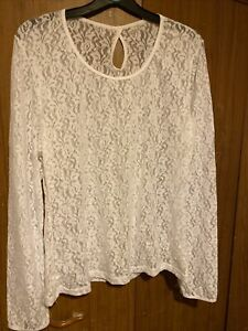 BHS White Long Sleeve Lace Top UK Size 20