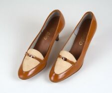 Vintage 1950s Golo Leather Orange Brown Beige Woven Tweed Heels Shoes Size 6