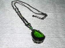 Estate Oxidized Silvertone Chain with Dainty Curlicue & Green Rhinestone Accents