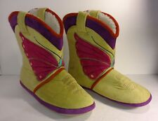 "Ciccia Bella Womens ""BUTTERFLY"" Cowgirl Slipper Boots Fleece Lined Size 8"
