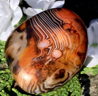 52g NATURAL MADAGASCAR BANDED AGATE POLISHED HEALING PALM STONE  Reiki Charged