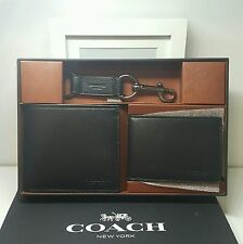 Coach Sport Leather Billfold Compact ID Wallet Gift Set in Black F64118 $225
