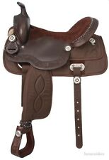 14 Inch Western Youth Saddle - Synthetic Krypton & Leather - Brown - King Series