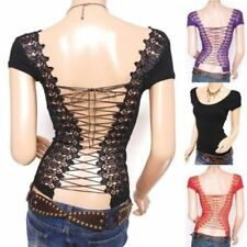 Party Lace Up Patternless Tops & Shirts for Women