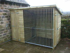 10'6 x 6 Pent Kennel with Galvanised Run Steel - Pressure Treated Wall Claddings