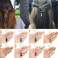 Fashion Retro Moon Hair Clip Crystal Barrette Hexagonal Pendant Hair Accessories