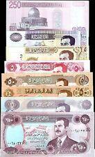 IRAQ 8 PCS X SET SADDAM HUSSEIN IRAQI DINAR BANK NOTE ARAB MONEY COLLECTION