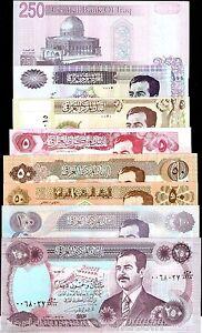 IRAQ 8 Pcs Set SADDAM 5 10 25 50 100 250 IRAQI DINARS ARAB MONEY COLLECTION
