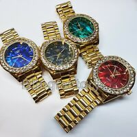 Luxury Hip Hop Iced Out Lab Diamond Mother of Pearl Dial Metal Wrist Bling Watch