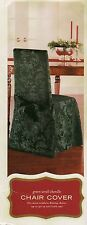 NIP - Set/8 - Green Scroll Chenille Dining Chair Covers