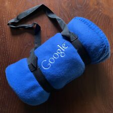 Blue Fleece Google Blanket, 100% Polyester. Easy-Carry Straps New. 50 X 60 ""