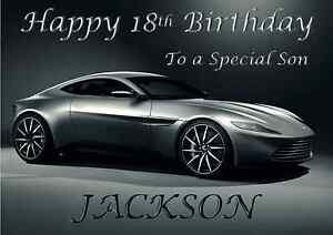 Aston Martin james bond 007 personalised A5 birthday card dad son brother name