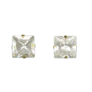 9ct Gold Earring 5mm square cubic zirconia stud