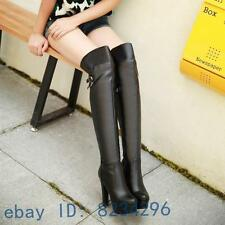 Sexy High Heel Damen Overknee Stiefel Plattform Schuhe [Schwarz EUR42=26cm]