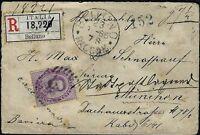 1885 - Raccomandata da Belluno con cent.50 Sassone n.42 - uso isolato