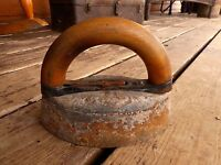Antique Sad Iron Wood Handle Vintage Primitive Rusty Ornate Farmhouse Kitchen