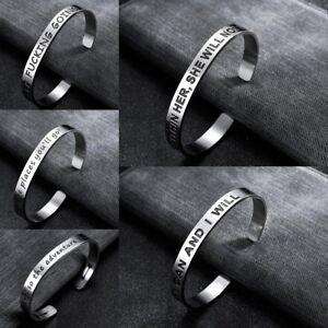 Fashion Women Men Bracelet Stainless Steel Cuff Open Bangle Inspirational Gifts