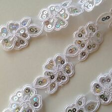 White Floral Sequin Embroidery Applique Motif Lace Sewing Trim Christmas EB0214