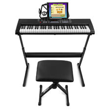 More details for kb4 full size electronic keyboard 61 key digital piano, stool, stand & stickers