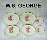 W. S. George Pottery Pink Caladium 4 Oval Platter (Lg + Md) + 2 Sm Plate = 6-pcs