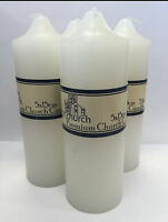 4x Premium Church Candle Candles White Unscented Pillar Candles 5*15cm 35Hrs